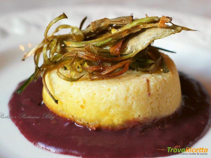 Sformatini di fontina su salsa rossa e carciofi croccanti #ricette #food #recipes
