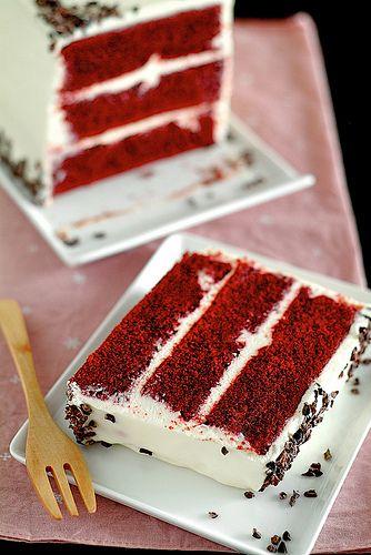 Red Velvet Cake. YUM! I love the rectangular approach versus traditional round cake.
