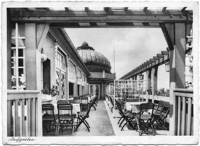 the cafe on the roof, Zabrze in Poland (1940s)