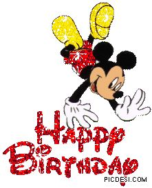 Happy Birthday Mickey Mouse Glitter