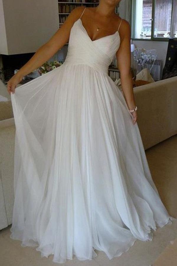 37e3c211d08c White Chiffon A-line V-neck Court Train Wedding Dresses with Ruffles, SW123