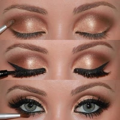 Adele inspired makeup - colors look like Too Faced Natural at Night FULL MOON (gold) and ECLIPSE (brown)