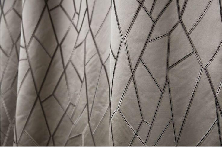 ROUTE DEKO #bordado sobre poliester / #brodat sobre una base de poliester. #piedra #geometrico #geometric #rasch #ontariofabrics