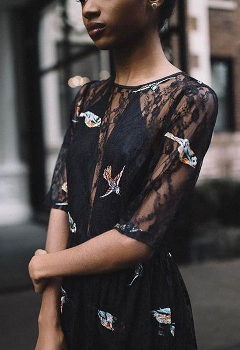 If you're feeling nervy that solid black is more birthday night out than a garden wedding kind of vibe, look for lace and delicate embroidery to bring out the 'special day' big guns. Sheer layers of lace also give the go-ahead for super-sexy details like a plunge neckline, ensuring all eyes are on the bride