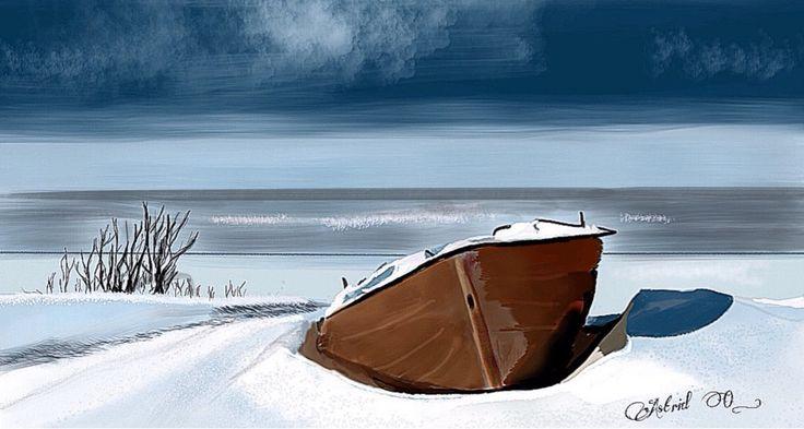 Winterlandschap  Digital drawing by Assie's Art.