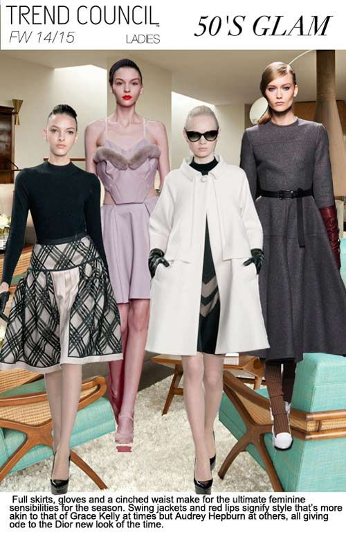 F/W 2014-15, women's ready to wear trend themes, 50's glam