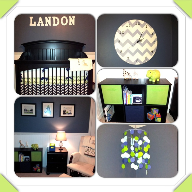 Landon S Bright Green And Navy Blue Nursery Designed By Mommy Daddy