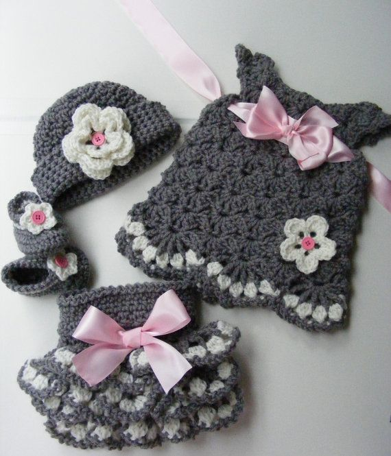 Pink snd gray...so pretty! https://www.etsy.com/listing/198127975/crochet-vintage-inspired-baby-set
