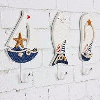 Cute | Mediterranean Nautical Slippers Fish Sailing Wall Hangers Hat Clothes Hook (Size: 6)