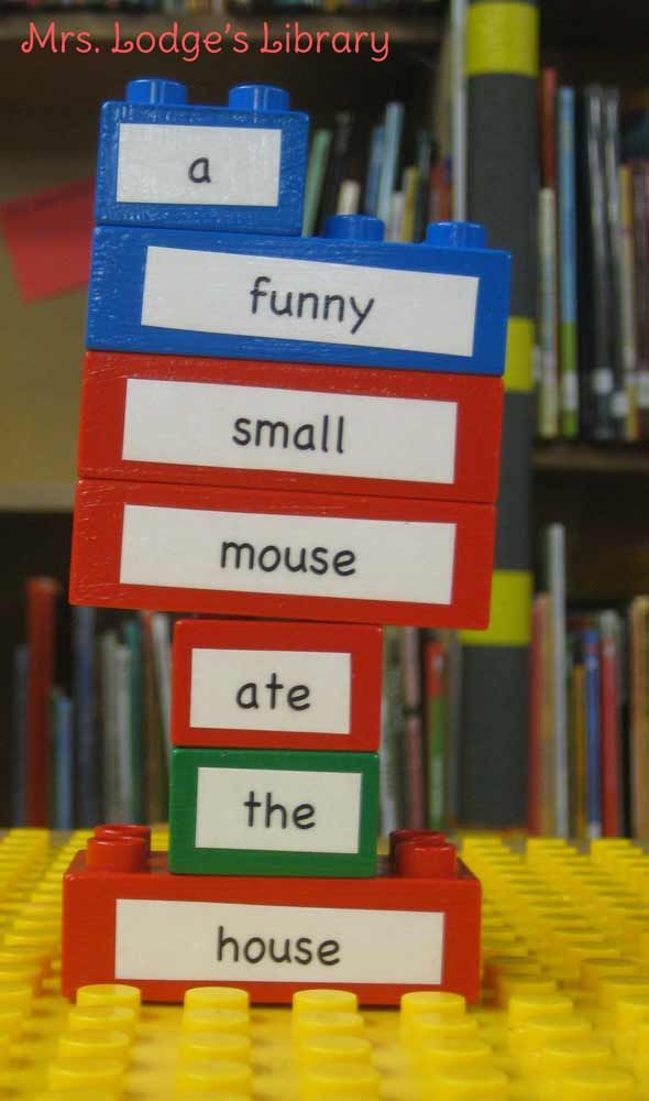 """Objective: Students will """"build"""" original poetry using LEGO bricks.  Set Up: I was lucky enough to find a big bucket of Duplo LEGO at a tag sale. I mod-podged words onto the blocks. Kids use the blocks to build poetry. We take pictures of poems they create."""