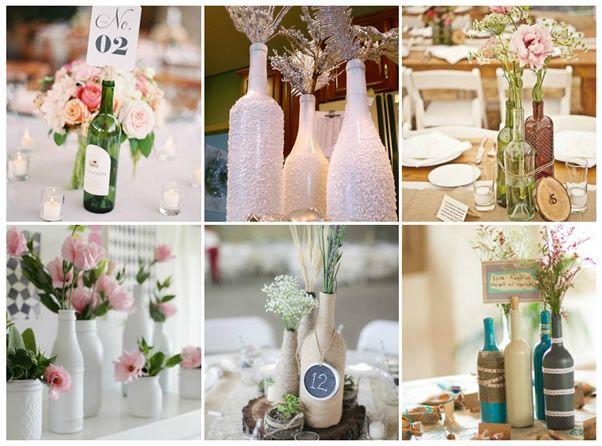 Decoração para festas com reuso de garrafas **___** http://www.revistaartesanato.com.br/10-ideias-lindas-para-decorar-casamentos-de-forma-surpreendente-usando-garrafas