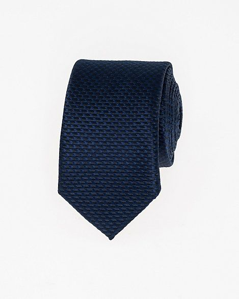 Tonal Microfibre Skinny Tie - A textured tonal pattern stamps a stylish skinny tie.