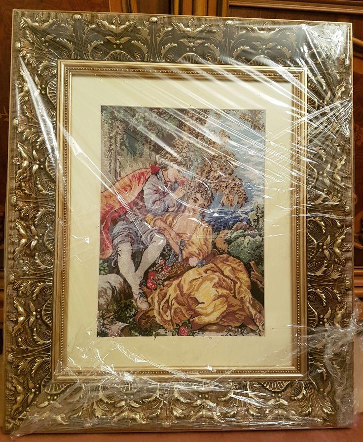 Beautiful FRESHLY HANDMADE Gobelin in brand new frame  1250 Euro