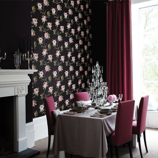 Rose And Black Wallpaper Framed By Paint Mixed With Glamorous Accessories Creates A Theatrical Effect In This Dramatic Dining Room