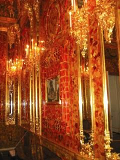The Amber Room, Catherine Palace, Russia consisted of thousands of panels of Baltic Amber set with diamonds and other precious gems backed with gold. The panels were stolen by the Nazis in WW2