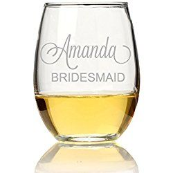 Bridesmaid Personalized Stemless Wine Glass