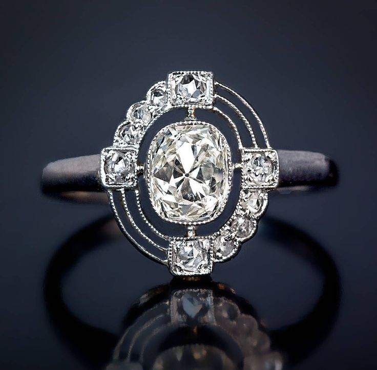 Russian Art Deco Diamond Platinum Engagement Ring | From a unique collection of vintage engagement rings at https://www.1stdibs.com/jewelry/rings/engagement-rings/