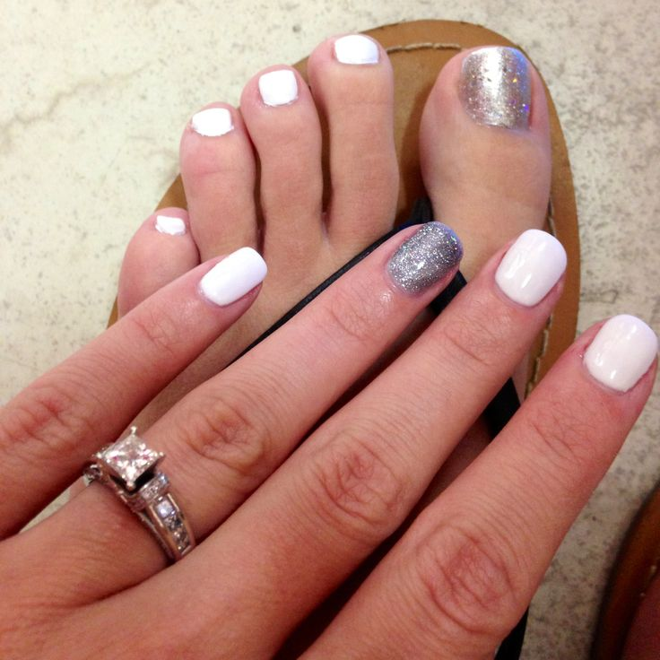 My Bridal Shower nails and toes - white nails with silver glitter accent nail