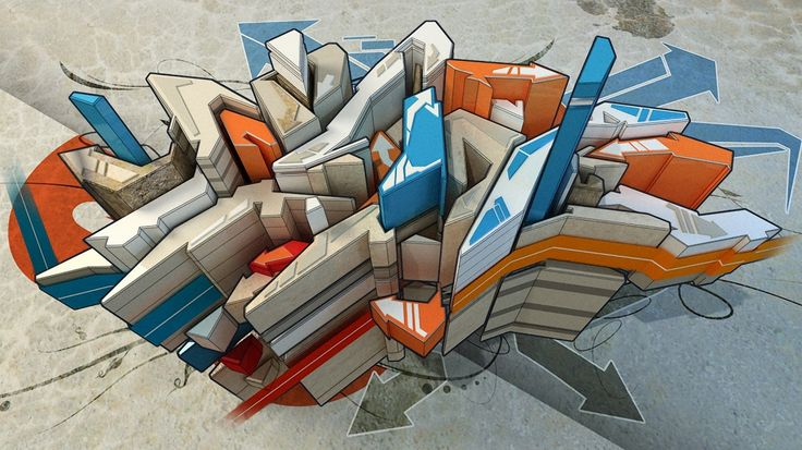 1366x768 Wallpaper abstraction, imagination, city, district, building, graffiti