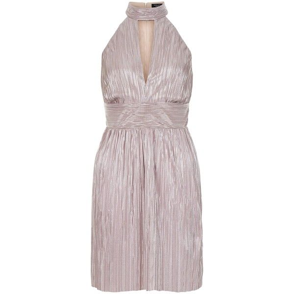 New Look Petite Shell Pink Metallic Pleated Choker Dress (£23) ❤ liked on Polyvore featuring dresses, shell pink, petite cocktail dress, evening cocktail dresses, petite evening dresses, pleated cocktail dress and metallic dress