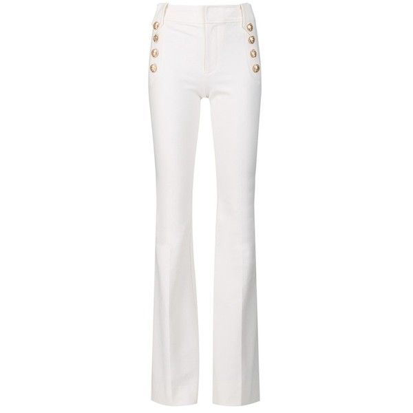 Derek Lam 10 Crosby Flare Trouser With Sailor Buttons ($385) ❤ liked on Polyvore featuring pants, flared trousers, white wide leg pants, flare trousers, white wide leg trousers and wide leg pants