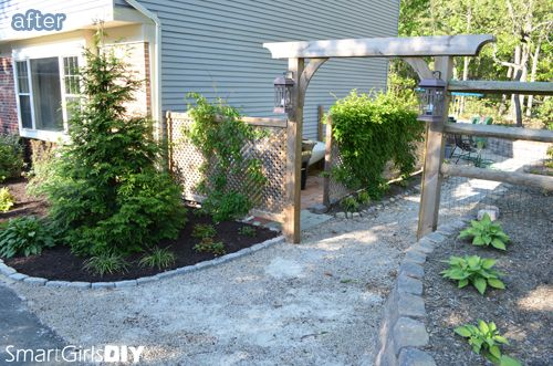 Landscaping Ideas To Hide Ugly Fence : Great way to disguise trash cans and ac unit on betterafter home