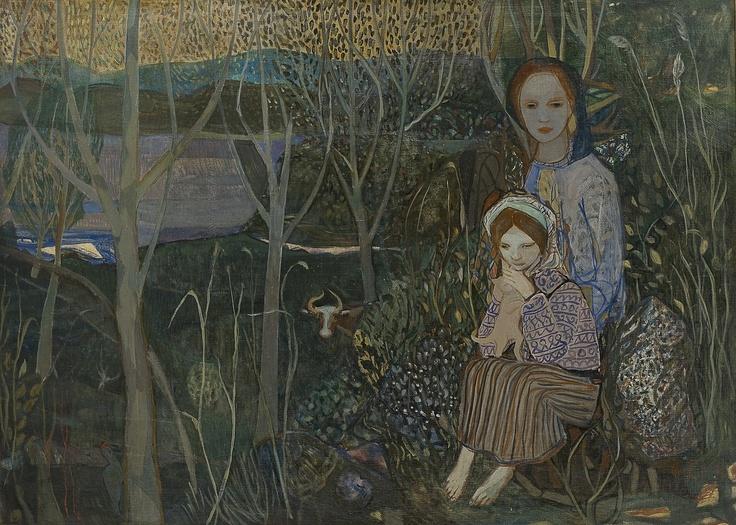 Fjell, Kai (1907-1989)  Kvinne og barn i landskap (1943)