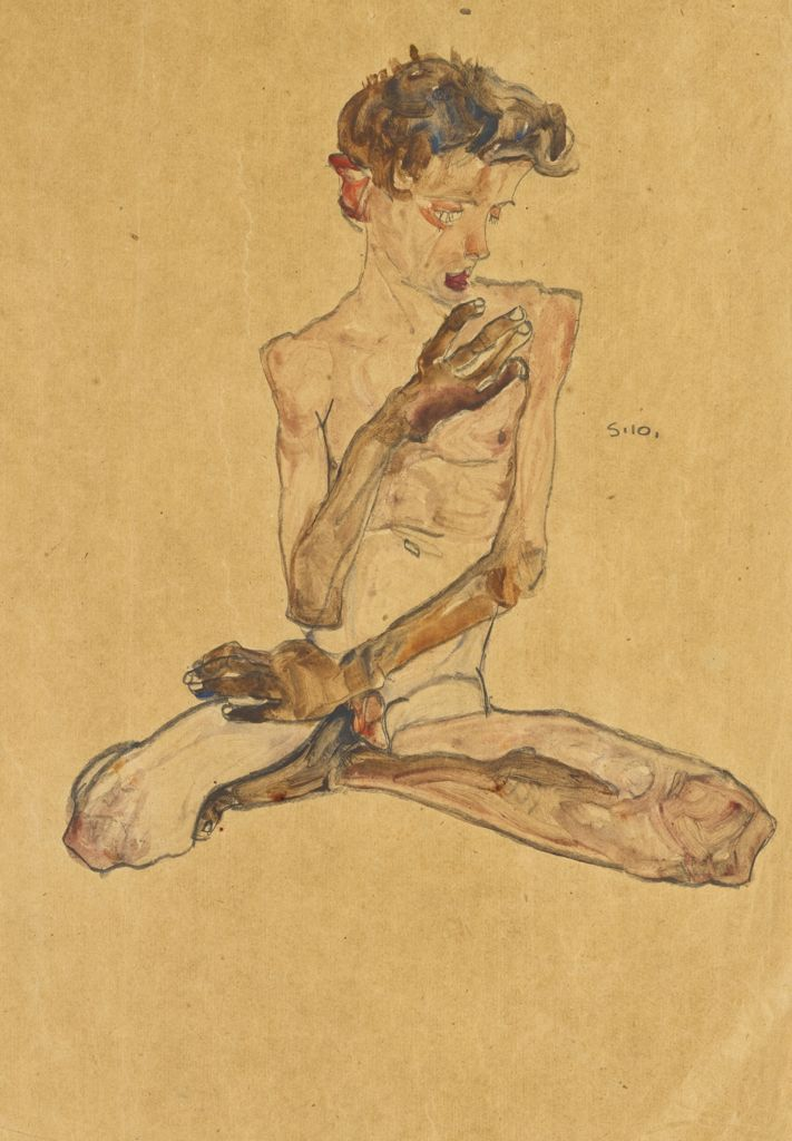 Egon Schiele, Seated Boy, 1910, 17 3/4 x 12 1/2 inches, gouache, watercolour and black crayon on paper, $670,000