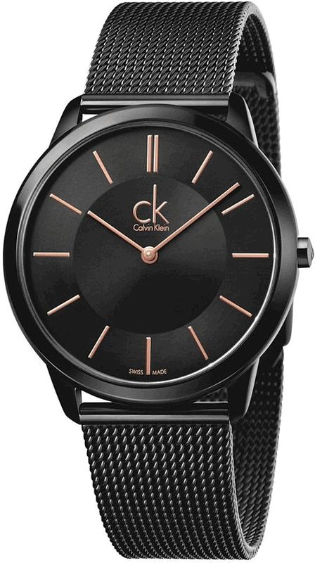 Men's Calvin Klein Minimal Black Mesh Band Watch K3M21421
