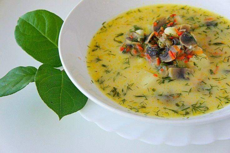 Грибной сливочный суп  Время приготовления: 30 минут.  Ингредиенты:  Шампиньоны — 200 г Морковь — 1 шт. Лук репчатый — 0,5 шт. Картофель — 1–2 шт. Сыр плавленый — 70–100 г Молоко (сливки) — 100 г Масло растительное — 1 ст. л. Укроп — 1 пучок Соль — по вкусу Перец — по вкусу  Приготовление:  1. Подготовьте ингредиенты. 2. Картофель нарежьте средним кубиком, залейте водой и поставьте варить. Варите картофель 5–7 минут после закипания. 3. Приготовьте зажарку. Шампиньоны нарежьте, мелко нарежьте…