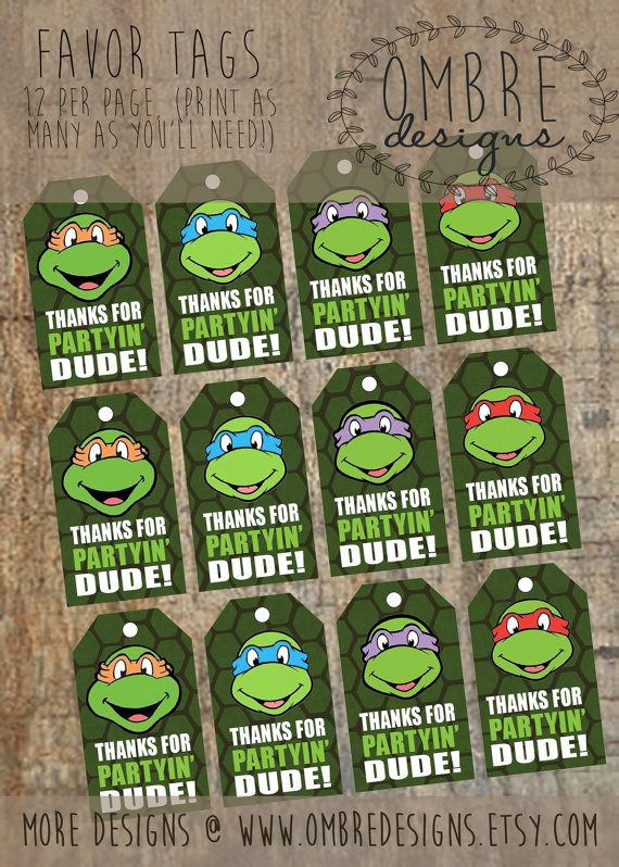 Ninja Turtles Favor Tags, INSTANT Download, Favour Tags, TMNT Party, Printable, TMNT Party, Ninja Turtles Invitation, Birthday Printable