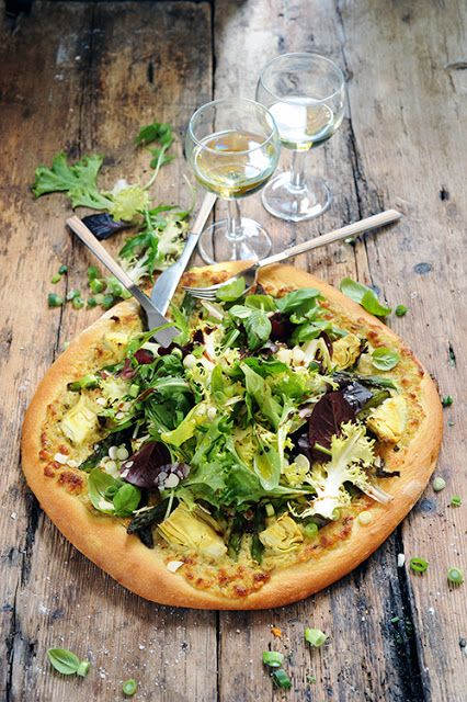 Dorian cuisine.com Aber warum bin ich dir zu sagen ...: Pizza grüne Artischocken und Spargel alle ensaladée weil der Salat nicht im zweiten Teil verurteilt ...