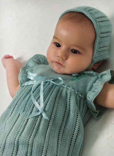 FREE PATTERN...Cute Baby Knitted Dress 0 -12 Months