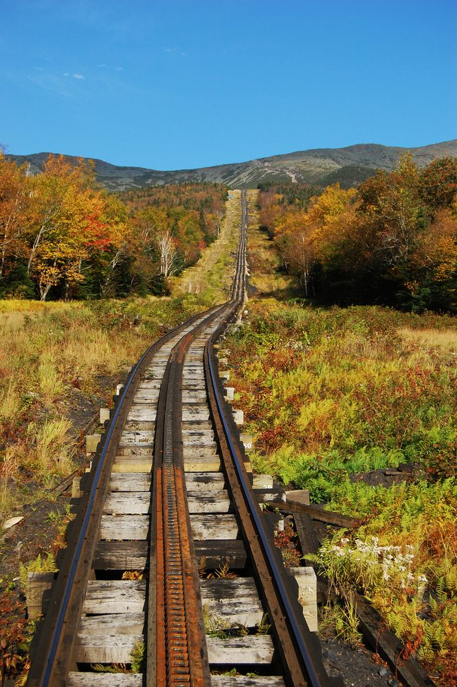 Mount Washington Cog Railroad Railway in New Hampshire   ..rh  Looks like Lionel Train tracks!