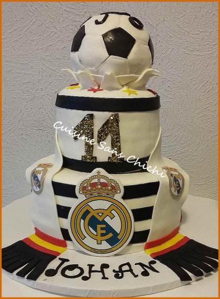 Gâteau à thème : Réal Madrid. Pour l'anniversaire de mon petit fils Johan fan du réal Madrid.