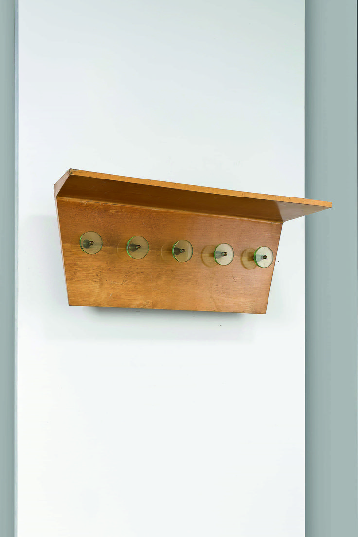 Luigi Fontana Attributed; Wood, Brass and Glass Coat Rack, 1940s.