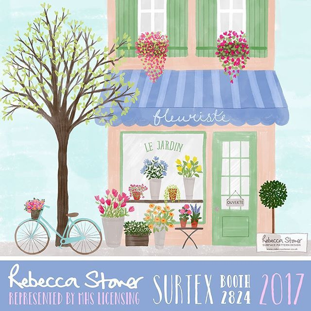 Only days away now from #surtex so thought I'd share a peek at some more brand new work! This is an illustration from my new J'adore Paris collection which will preview at Surtex. I loved drawing these pretty shop windows.....there's a cafe & clothes shop too!  .  .  .  #paris #parisian #parisjetaime #parisianlife #parisianstyle #fleurs #flueriste