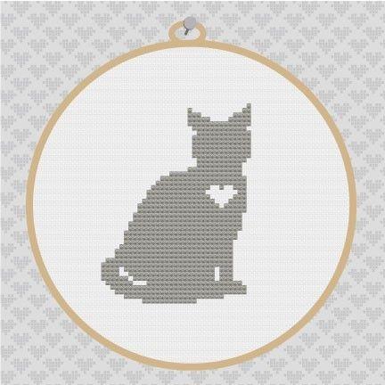 Cat Silhouette Cross Stitch PDF Pattern 001. via Etsy.