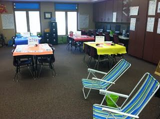 Love this idea for the last day or so of school- make stations for the kids to make things to take home over the summer. She has a station to make math flash cards, pick up a writing journal, make a book out of copied anchor charts, etc.