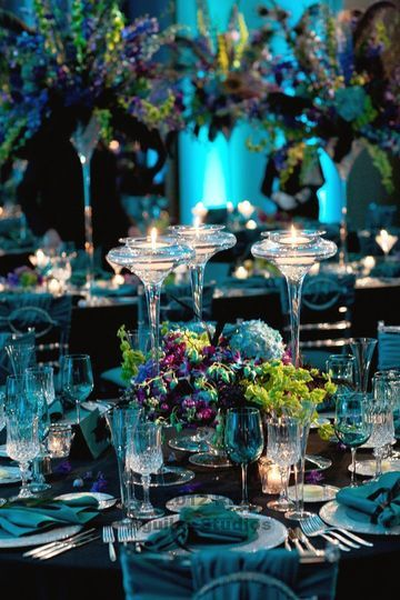 new years eve peacock themed wedding! teal and purple, hydrangeas, orchids and feathers! Laura Daluga of Anna Held Florist, Chicago.
