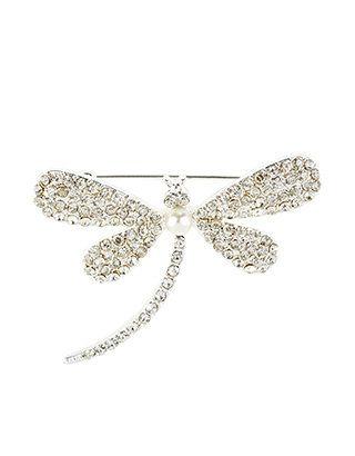 Brosche mit kristallbesetzter Libelle