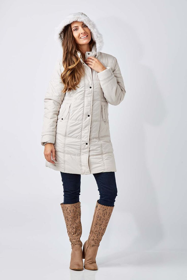 NEST PICKS - Long Length Puffer Jacket (Ice): Made to keep you warm on the inside and protected from the elements. The Long Length Puffer Jacket from Nest Picks gives a modern understated look with touches of military styling that's spot on for winter. It's quilted with a detachable faux fur trim hood, snap pockets as well as a full length zip, giving you a great look that works in well with your on and off duty wardrobe. Love, Rowena and the birdsnest girls x