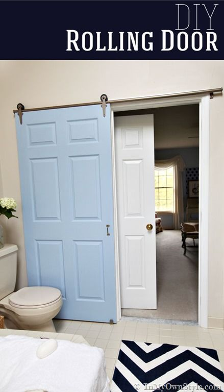 Rolling Door Hardware from Rolling Door Designs - this would work to replace the swinging door in our master bath. Easier than installing a pocket door and more stylish.