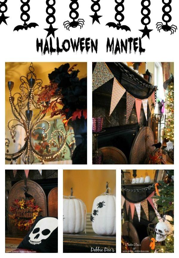 Halloween mantel and tree
