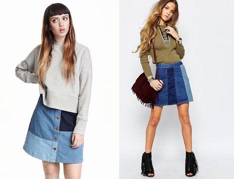 Vyzkoušejte kombinaci různě barevných džínovin, takový originální kousek upoutá pozornost. Na foto (zleva): H&M, 899 Kč a Glamorous, 915 Kč; archiv firem