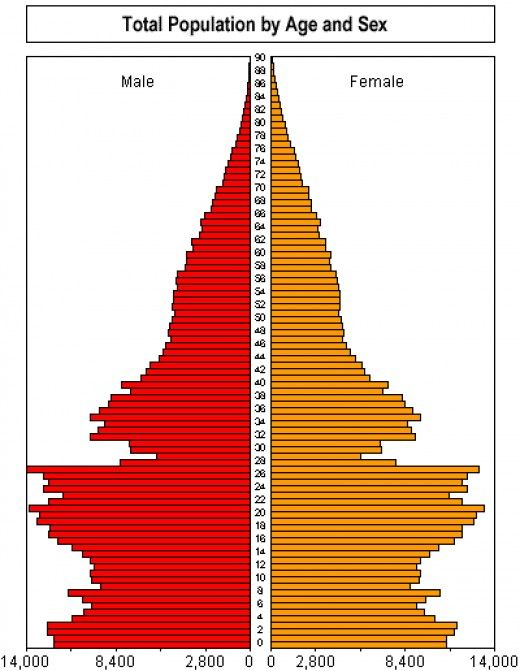 This population pyramid show the age and sex. Females in China are declining…
