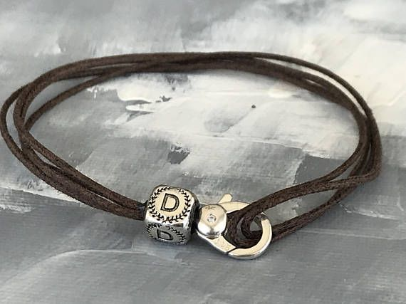 Men's Leather Bracelet (1.5mm) Featuring 1 Lock and 1 accent , Both in Sterling Silver 925. Pick your Letter.
