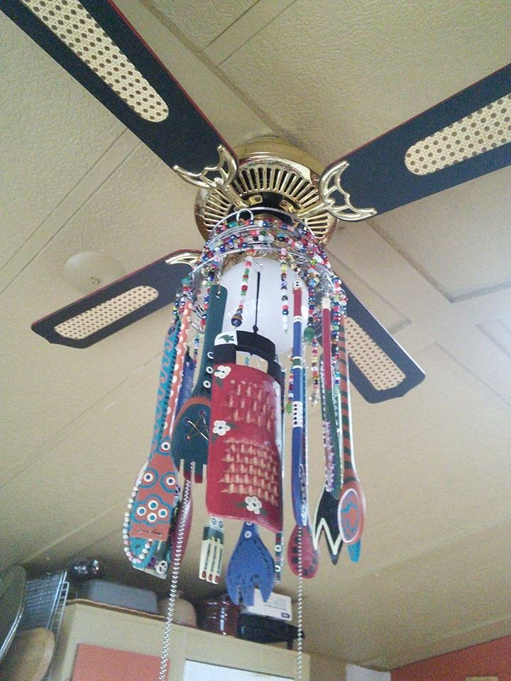 8 best boho ceiling fans images on pinterest ceiling fan hubby i built this from a ceiling fan wire fruit basket light globe asstd wooden kitchen utensils glass beads used rona sico paint on wood made by aloadofball Images