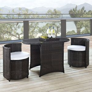 KATONTI 3 PIECE OUTDOOR PATIO DINING SET IN BROWN WHITE Katonti's intimate dimensions reveal an outdoor patio set with an inner world of opportunity. Perfect for use in a private setting, or outdoor seating for a trendy restaurant; Katonti exudes boundless chances for myriad conversations and animated debates. Whether a business meeting with a treasured client or a last minute lunch with a friend, pull up the cylindrical shaped chairs and celebrate life.
