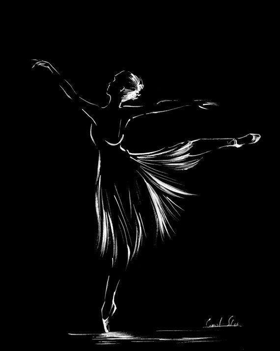 Minimalist Ballet Wall Art, Ink Drawing Art Print, Ballerina Drawing, Modern Art